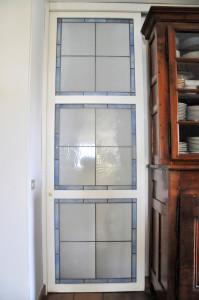 Porta scorrevole vetrata - Filo a piombo (A)
